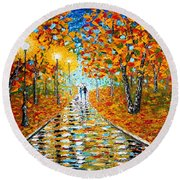 Autumn Beauty Original Palette Knife Painting Round Beach Towel