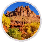 Autumn Beneath The Castle Round Beach Towel by Greg Norrell