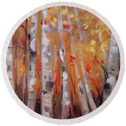 Autumn Birch Round Beach Towel by Mary Hubley