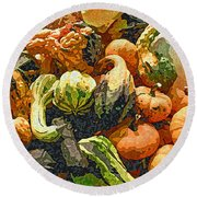 Autumn Bounty Round Beach Towel