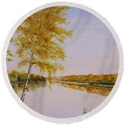 Autumn By The River Round Beach Towel by Martin Howard