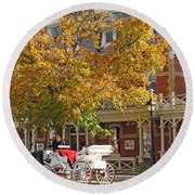 Autumn Carriage For Hire Round Beach Towel