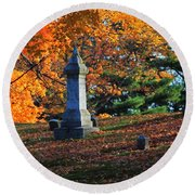 Autumn Cemetery Visit Round Beach Towel