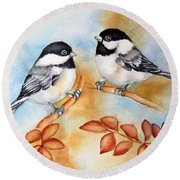 Autumn Chickadees Round Beach Towel by Inese Poga