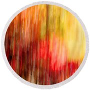 Autumn Colors In Abstract Round Beach Towel