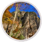 Autumn Colors In The Saxon Switzerland Round Beach Towel
