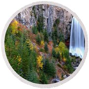 Round Beach Towel featuring the photograph Autumn Colors Surround Tumalo Falls by Kevin Desrosiers
