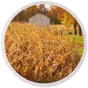 Autumn Corn Round Beach Towel by Mary Carol Story