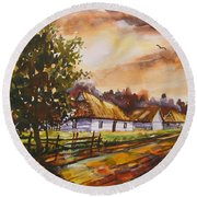 Autumn Cottages Round Beach Towel