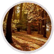 Autumn Country Lane Evening Round Beach Towel by Michele Myers