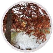 Autumn Cypress On Lake Ella Round Beach Towel