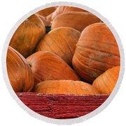 Autumn Pumpkins On The Farm Round Beach Towel