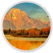 Autumn Dawn At Oxbow Bend Round Beach Towel