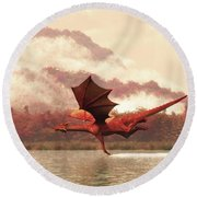 Autumn Dragons Round Beach Towel