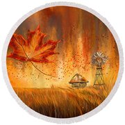 Autumn Dreams- Autumn Impressionism Paintings Round Beach Towel by Lourry Legarde
