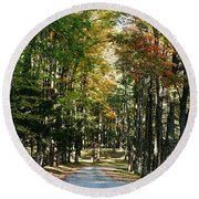 Autumn Drive Round Beach Towel