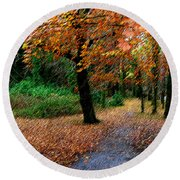 Autumn Entrance To Muckross House Killarney Round Beach Towel
