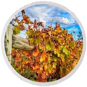 Autumn Falls At The Winery Round Beach Towel