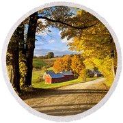 Autumn Farm In Vermont Round Beach Towel by Brian Jannsen