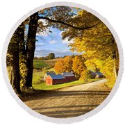 Autumn Farm In Vermont Round Beach Towel