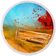 Autumn Farm- Autumn Impressionism Oil Palette Knife Painting Round Beach Towel by Lourry Legarde