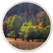 Autumn Field Round Beach Towel