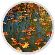 Round Beach Towel featuring the photograph Autumn  Floating by Peggy Franz