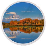 Autumn Foliage At The Oxbow Round Beach Towel