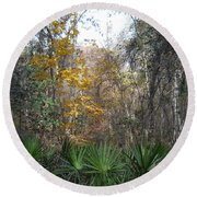 Autumn Forest Round Beach Towel