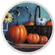 Round Beach Towel featuring the painting Autumn Gifts by Vesna Martinjak
