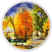 Round Beach Towel featuring the painting Autumn Gold 2 by Kip DeVore