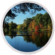 Autumn Grotto Round Beach Towel by Kenny Glotfelty