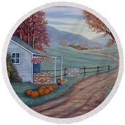 Autumn Harvest Round Beach Towel