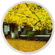 Round Beach Towel featuring the photograph Autumn Homestead by Rodney Lee Williams