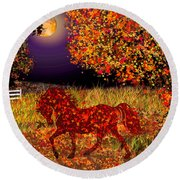 Autumn Horse Bewitched Round Beach Towel