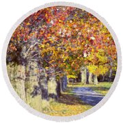 Autumn In Hyde Park Round Beach Towel by Joan Carroll