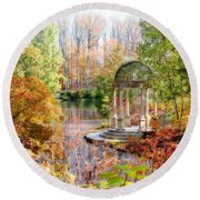 Autumn In Longwood Gardens Round Beach Towel