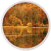 Autumn In Mirror Lake Round Beach Towel