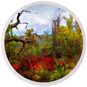 Autumn In New England Round Beach Towel