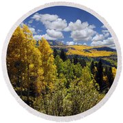 Autumn In New Mexico Round Beach Towel by Kurt Van Wagner