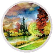 Autumn In Park Round Beach Towel