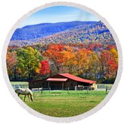 Autumn In Rural Virginia  Round Beach Towel by Lynn Bauer
