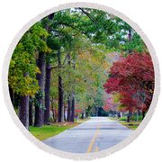 Round Beach Towel featuring the photograph Autumn In The Air by Cynthia Guinn
