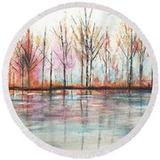 Autumn In The Hamptons Round Beach Towel