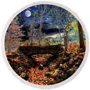 Autumn In The Meadow Round Beach Towel by Michael Rucker