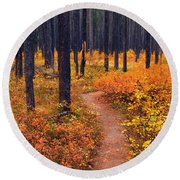 Autumn In Yellowstone Round Beach Towel
