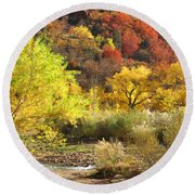 Autumn In Zion Round Beach Towel