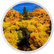 Autumn In Zion Round Beach Towel by Greg Norrell