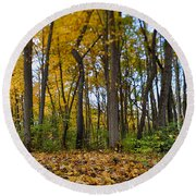 Round Beach Towel featuring the photograph Autumn Is Here by Sebastian Musial