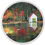 Autumn - Lake - Reflecton Round Beach Towel